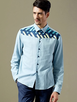 Ericdress Color Block Patched Print Quality Men's Shirt