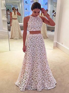 Ericdress A Line Two Pieces Lace Floor Length Long Prom Dress