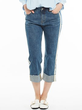 Slim Stripe Patchwork Straight Plain Jeans