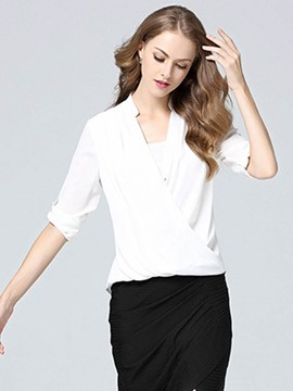 Ericdress Plain V-Neck Blouse