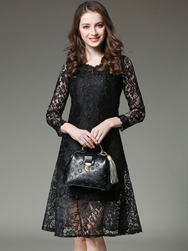 Ericdress V-Neck See-Through High-Waist Trumpet Lace Dress