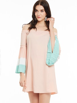 Ericdress Sweet Pleated Flare Sleeve Casual Dress