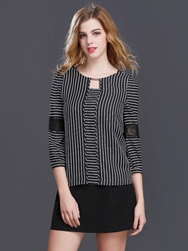 Ericdress Lace Patchwork Stripped T-Shirt