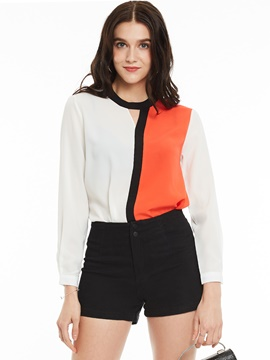 Ericdress Color Block Stylish Blouse