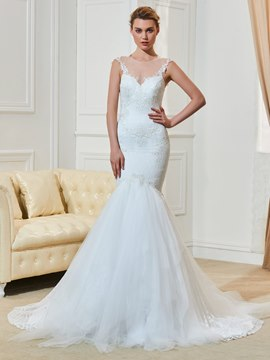 Ericdress Mermaid Lace Jewel Neckline Beaded Wedding Dress