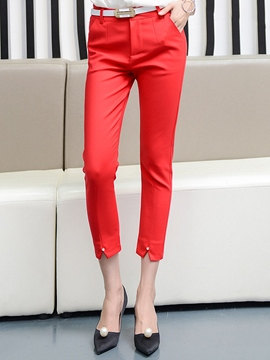 Ericdress High Waisted Pure Color Women's Pants