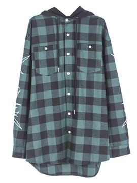 Ericdress Plaid Hooded Oversized Trench Coat