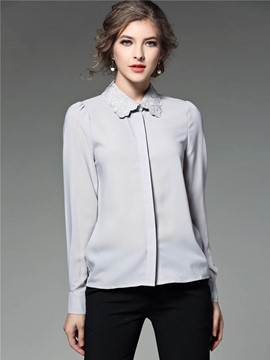 Ericdress Slim Plain Lapel Blouse