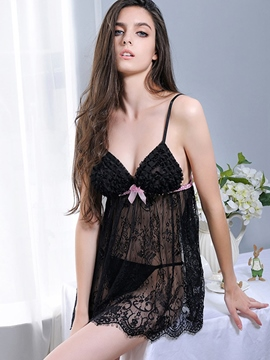 ericdress Ebene bowknot see-through Babydoll