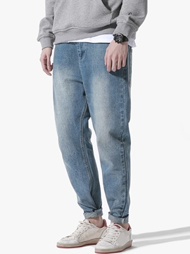 Ericdress Vintage Worn Denim Casual Men's Pants