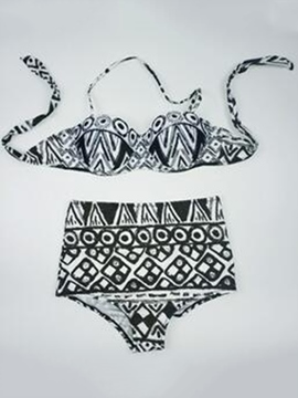 Ericdress Fashionable Ethnic Halter High-Waist Bikini Set