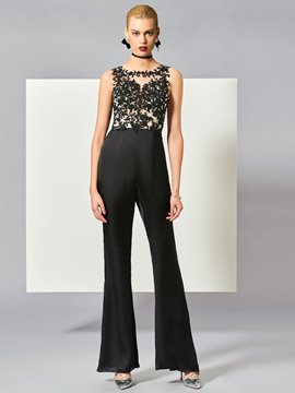 Ericdress Designer A Line Scoop Neck Lace Applique Prom Jumpsuit