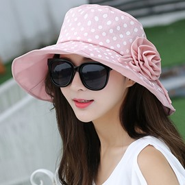 Ericdress Flower Decorated Dots Printed Sweet Outdoor Hat