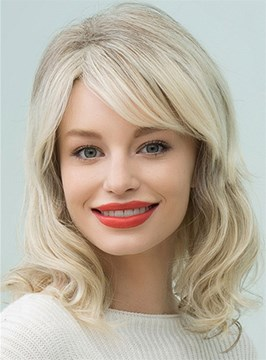 Ericdress Mid-Length Nature Wavy Side Part Human Hair Blend Capless Wigs 16 Inches