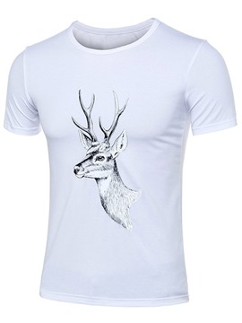 Ericdress Deer Print Simple Design Short Sleeve Men's T-Shirt
