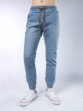 Ericdress Elastic Lace-Up Denim Casual Men's Pencil Pants