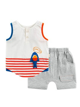 Ericdress Stripe Vest Plain Shorts Baby Boys Suit