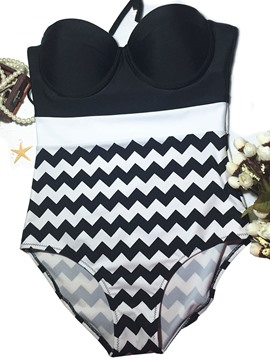 Ericdress Color Block Stripe Patchwork Bikini Set