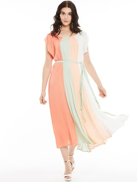 Ericdress Round Collar Belt Patchwork Maxi Dress