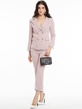 Notched Lapel Double-Breasted Plain Blazer Suits