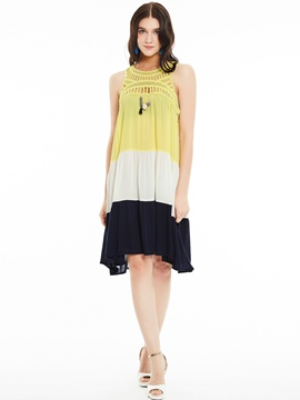 Ericdress Hollow Patchwork Pleated Loose Casual Dress