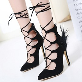 Ericdress Cross Strap Feather Decorated Stiletto Sandals