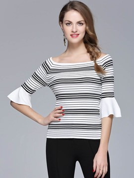 Ericdress Slim Stripe Flare Sleeve Knitwear