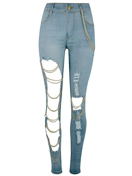 Ericdress Ripped Light Blue Women's Jeans
