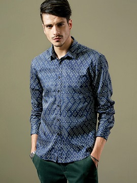 Ericdress Cotton Blends Print Long Sleeve Men's Shirt