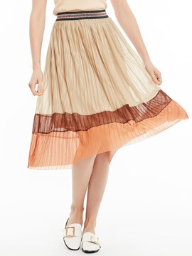 Mesh Patchwork Color Block Pleated Skirt