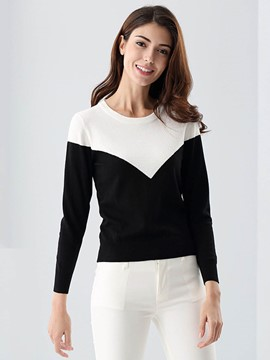 Ericdress Slim Color Block Pullover Knitwear