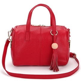 Ericdress Soft Pure Color Tassel Boston Handbag