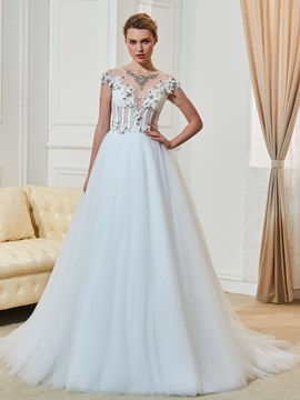 Ericdress Luxury Jewel Appliques Beaded A Line Wedding Dress With Sleeves