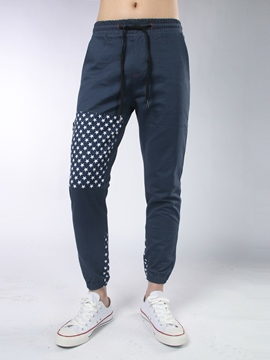 Ericdress Star Print Back Pocket Patched Casual Men's Pencil Pants