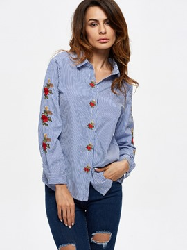 Ericdress Casual Blue Stripe Embroidery Blouse