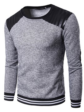 Ericdress Patchwork Stripe Crew Neck Casual Men's Hoodie