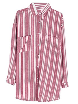 Ericdress Oversized Boyfriend Style Striped Blouse