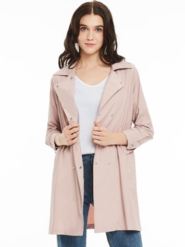 Ericdress Lapel Double-Breasted Plain Trench Coat