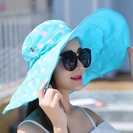 Ericdress Dots Printed Foldable Large Brim Sun Beach Hat