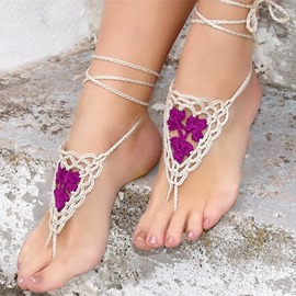 Ericdress Crochet Flowers Design Hollow Beach Anklets(Price for One Pair)