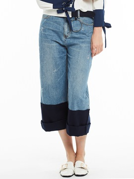 Color Block Patchwork Wide Legs Jeans