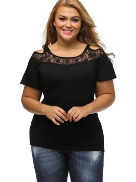 Ericdress Plus Size Plain Lace Hollow T-Shirt