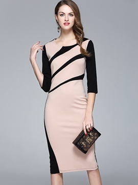 Ericdress Stylelines Patchwork Back Zipper Sheath Dress