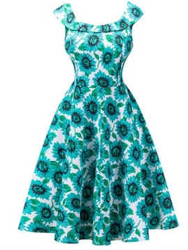 Ericdress Floral Print Patchwork A Line Dress