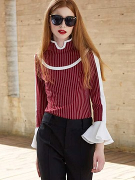 Ericdress Stripe Color Block Flare Sleeve Blouse