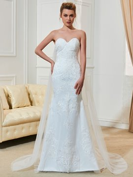 Ericdress Fancy Sweetheart Appliques Watteau Train Mermaid Wedding Dress