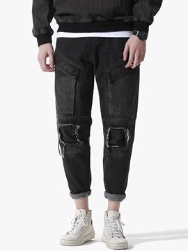 Ericdress Plain Vintage Patched Unique Denim Casual Men's Pants