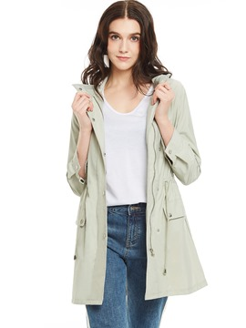Ericdress Stand Collar Single-Breasted Drawstring Trench Coat