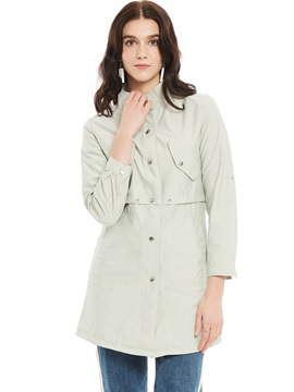 Ericdress Stand Collar Single-Breasted Plain Trench Coat