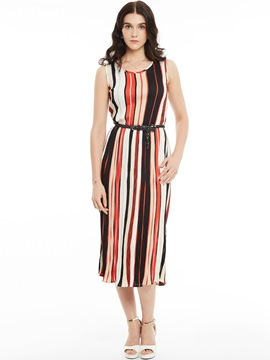 Ericdress Sleeveless Stripe Color Block Maxi Dress